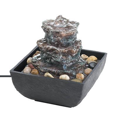 New Rock Tower Tabletop Water Fountain Indoor Pump Home Decor Cascading Relaxing
