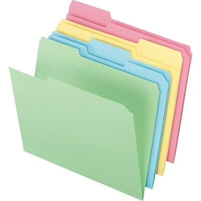 Staples Colored Top-Tab File Folders 3 Tab Assorted Pastels Letter Size 24/PK](Colorful File Folders)