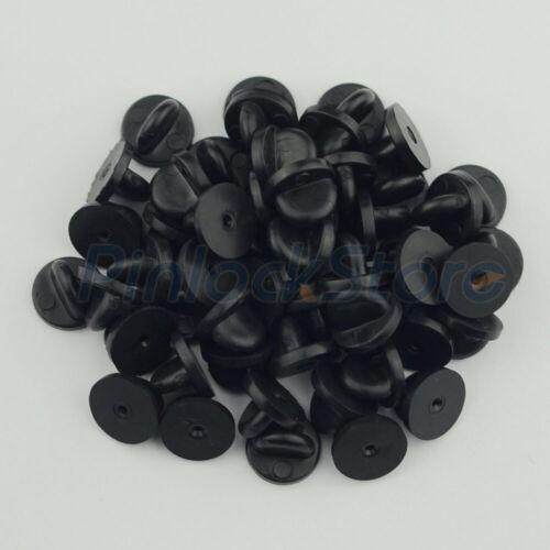 Rubber Pin Backs Black PVC Enamel Lapel Pin Backs Clasps/Clutches 50 PCS