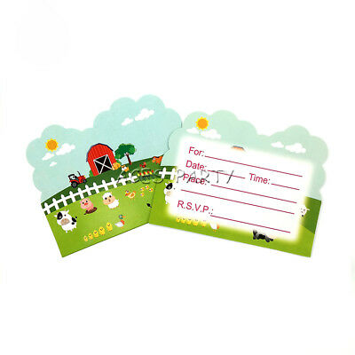 Farm Cow Pig Animals Theme Invitation Card For Kids Birthday Party Decoration ()