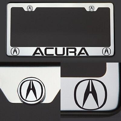 New Chrome T304 License Plate Frame Tag Acura Black Letter Laser Etched Engraved