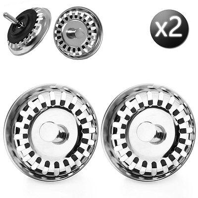 PACK OF 2 Replacement McAlpine Kitchen Sink Strainer Waste Plugs (78mm)