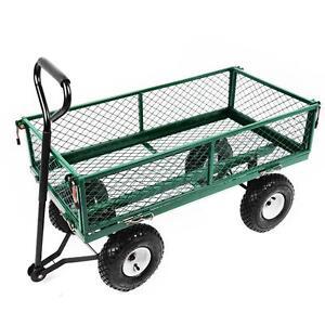 NEW Heavy Duty Metal Green Garden Cart Barrow Utility Log Timber Trolley Cage