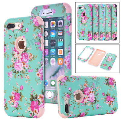 Rose Flower Pattern Printing Heavy Duty Hybrid Shockproof Case Cover For (Heavy Duty Pattern)