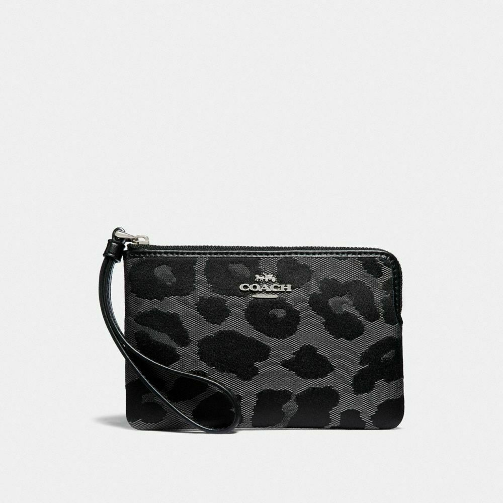 New Coach F58032 F58035 Corner Zip Wristlet With Gift Box New With Tags Grey Leopard Print