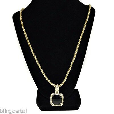 Black Faux Onyx Chain Iced Square Gold Plated Hip Hop Rapper Rope Necklace - Fake Gold Rope Chain