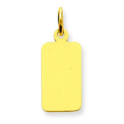 (14K Yellow Gold .009 Gauge Engravable Rectangular Disc Charm Pendant MSRP $102)
