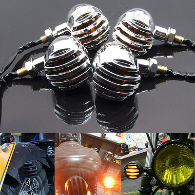 4x Chrome Bullet Motorcycle Turn Signal Light Blinker Amber Bulb Indicator Lamp