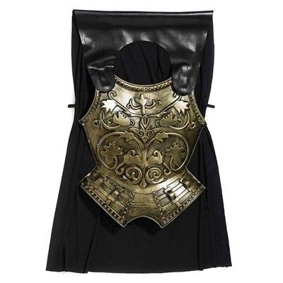 Fancy Dress Roman Chest Plate With Cape - Black Adult Costume Gold](Gold Chestplate)