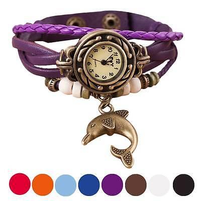 Retro Quartz Weave Around Leather Watch Dolphin Bracelet Lady Woman Wrist Watch