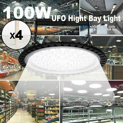 4x 100w Ufo Led Round High Bay Light Industrial Warehouse Shop Light Fixture