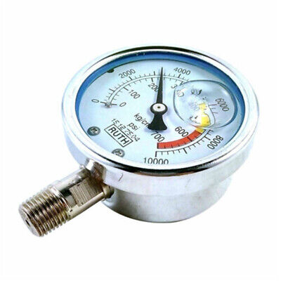 304ss Stainless Steel 2.4 G14 Hydraulic Pressure Gauge Meter 700kg 10000psi