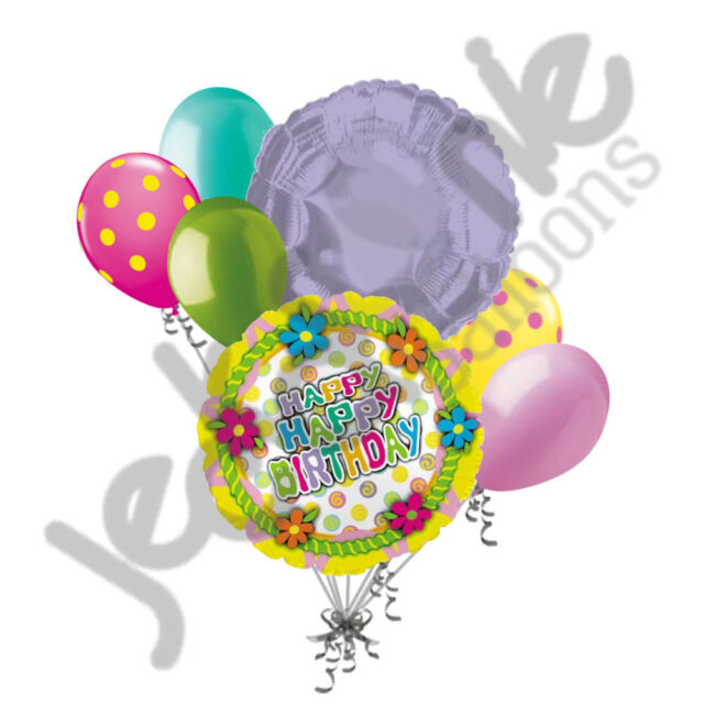 7 PC Happy Birthday Flower Cake Top Balloon Bouquet Party Decoration ...