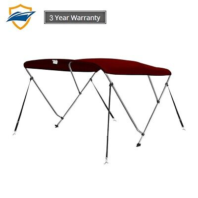 3Bow Bimini Boat Top Cover with storage boot, Color Burgundy,w/4 straps 3 Bow Bimini Top Storage