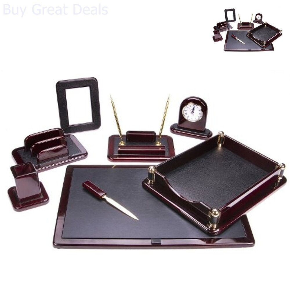 Details about Office Set Supply Tray Pen Holder Executive Work Space  Leather Desk Organizer
