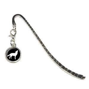 Wolf-Howling-Metal-Bookmark-Page-Marker-with-Charm