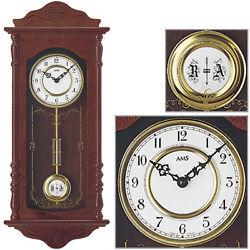 AMS Quartz Pendulum Clock Wall Clock Walnut 4/4 Westminster BIMBAM NEW