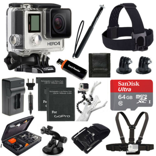 GoPro HERO4 Silver Edition + 2 Extra Battery +Head Strap + 64GB All In 1 Top Kit