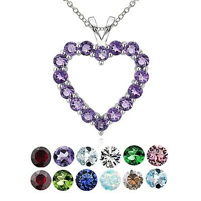 Sterling Silver Birthstone Open Heart Necklace Gemstone Heart Necklace