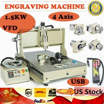 Usb 4 Axis Cnc 6090 Router 1.5kw Engraver Machine Milling Drilling Controller