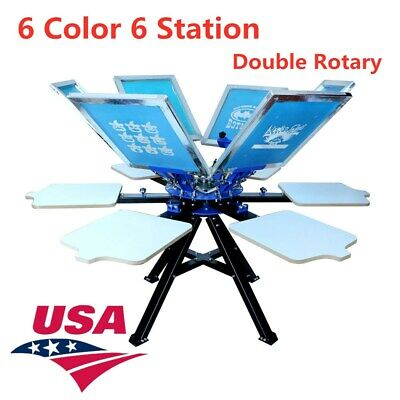 Us 6 Color 6 Station Silk Screen Printing Machine Double Rotary T-shirt Printer