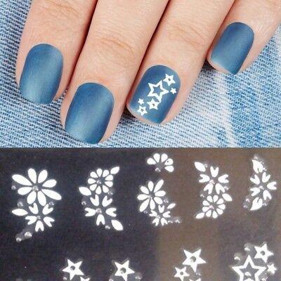 Kleber Nagel ( Nagelsticker Blume Nailart Tattoo Herz Nagel Aufkleber Selbstklebend Weiß CJ10)