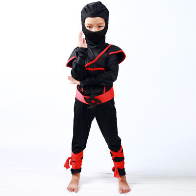 for 2-12Y Boys Kids Ninja Assassin Japanese Samurai Warrior Fancy Dress Costume
