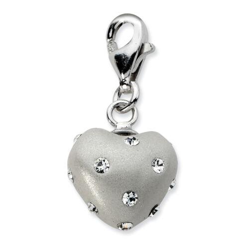 Sterling Silver Click-on Purple Ferido /& Stellux Crystal Heart Charm
