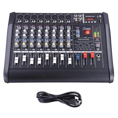 8 Channel Professional Powered Mixer power mixing Amplifier Amp 16DSP ()