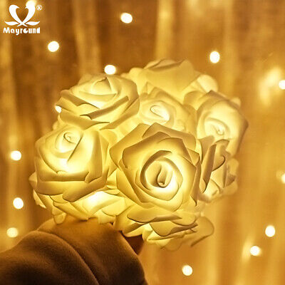 10/20LED String Rose Flower Fairy Lights For Indoor Home Wedding Party Bedroom ()