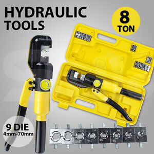 2016 8 Ton Hydraulic Crimper Cable Wire Force Crimping Tool Kit 9 Die 4mm-70mm