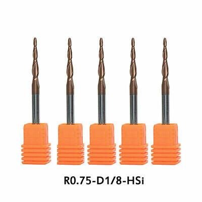 5pcs Radius0.75mm Tapered Ball Nose End Mill Set 18 Shank Cnc Engraving Carving
