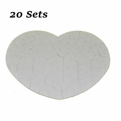 20pcssublimation Blank Heart-shape Jigsaw Puzzle Diy Heat Press Transfer Crafts