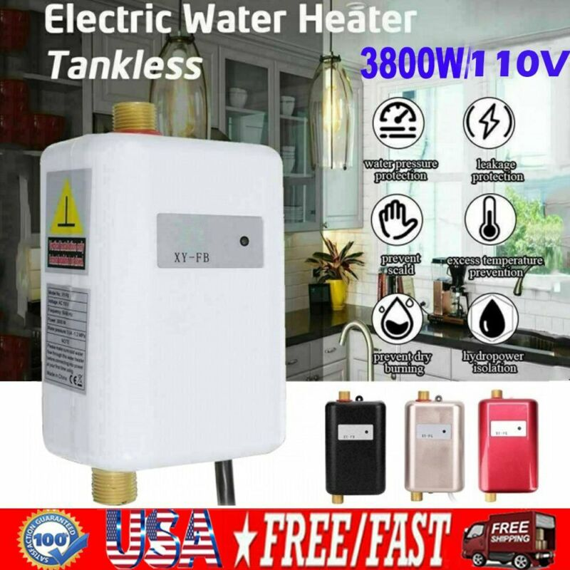 110V 3000W Electric Tankless Instant Hot Water Heater Shower Kitchen Tap Faucet