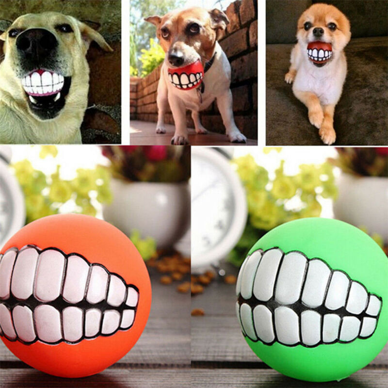 Pet Dog Ball Teeth Funny Silicon Toy Chew Squeaker Squeaky S