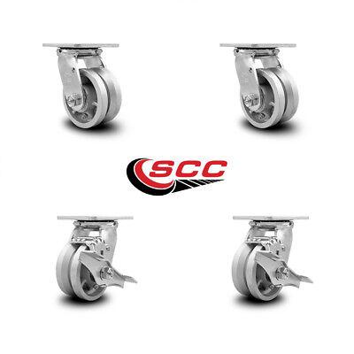 Scc 4 X 2 V Groove Semi Steel Wheels Caster Set 4 2 Swivel2 Swivel Wbrakes