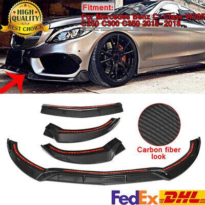 Carbon Fiber Front Bumper Lip Splitter Spoiler For Benz C Class W205 Sport 15-18