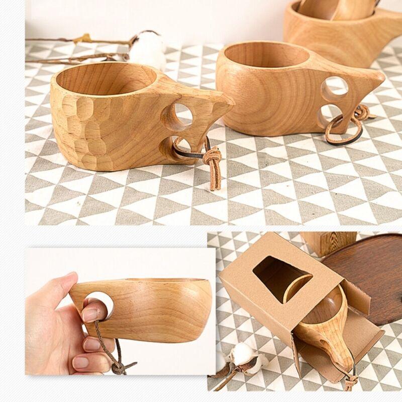 Portable Wood Coffee Mug Wooden Rubber Tea Cups Water Drinking Drin Mugs Q0A2