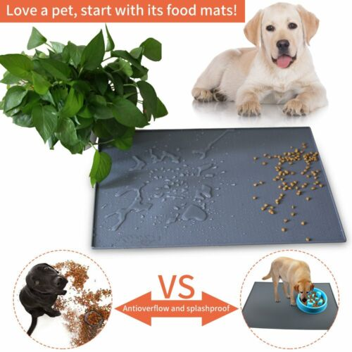 Pet Food Silicone Feeding Mat Bowl Tray Non-Toxic Dogs Mat W
