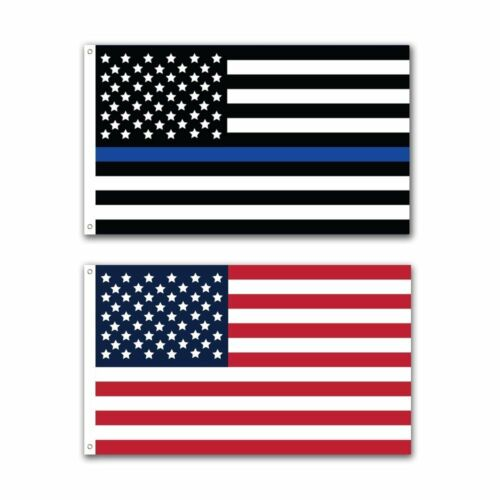 2 Pack Police Thin Blue Line and U.S. American Flag  3x5 Foot with Grommets