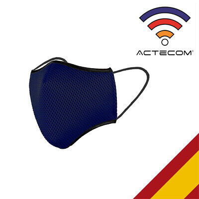 ACTECOM Mascarilla deportiva transpirable Azul Marino Talla M Running Ciclismo
