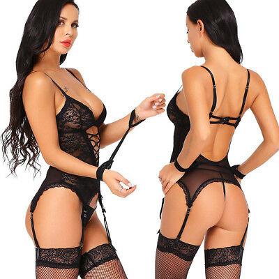 Lingerie Set for Women Sexy Lace Babyboll Sleepwear With Garter,Thong,Handcuff - Gartered G-string Set