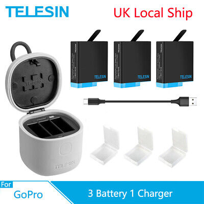 TELESIN 3Pack Battery 3 Ways Charger + TF Card Reader Box For Gopro Hero 8 7 6 5
