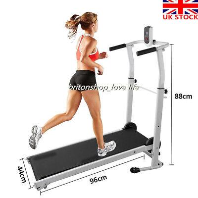 Folding Manual Treadmill Running Machine Cardio Home Fitness Walking Exercise UK