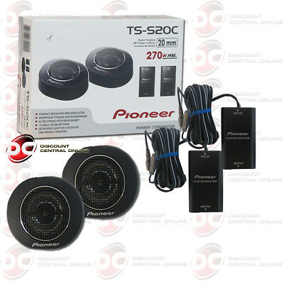 """PIONEER TS-S20C 3/4"""" CAR AUDIO COMPACT TWEETERS COMPONENT CROSSOVERS 50W RMS"""