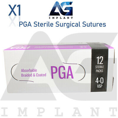 Pga Sterile Surgical Sutures Absorbable Violet Braided Medical Dental 12pcs