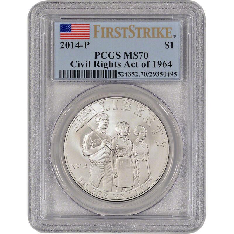 2014-P US Civil Rights Commemorative BU Silver $1 - PCGS MS70 - First Strike