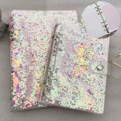 A5a6 Notebook Cover Sequins Loose Leaf Ring Binder File Folder Shake Card 1pc