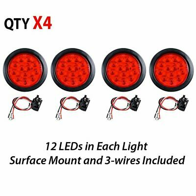 4X 4 inch ROUND 12 RED LED TRAILER TAIL LIGHTS Truck Stop Brake Lamp w Grommet