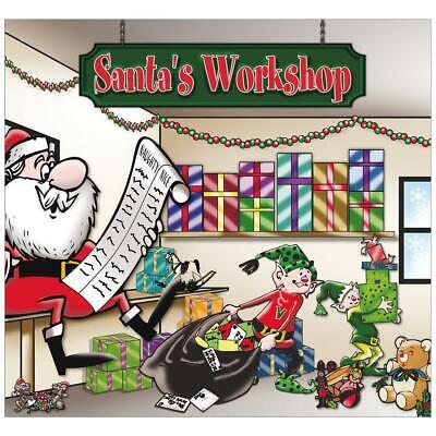 Santa Workshop Holiday 2 Car Split Garage Door Decor Mural 2 Graphic Kit 7x8 Ft - $352.99